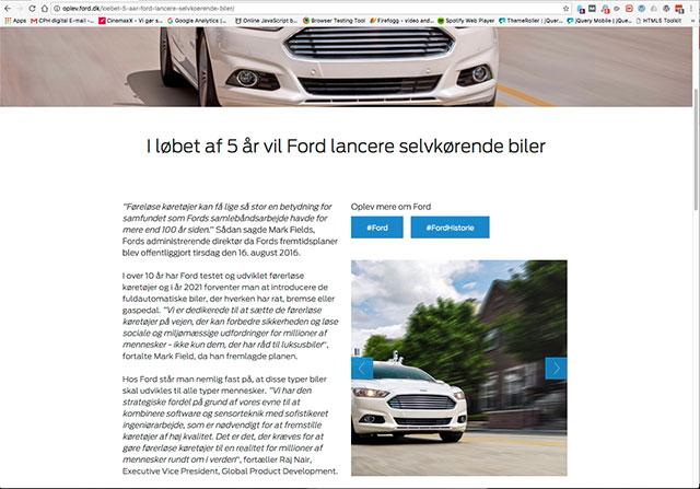 Oplev.ford.dk Wordpress webside